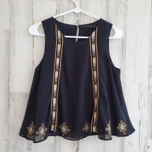 Cropped Zara Embroidered Top